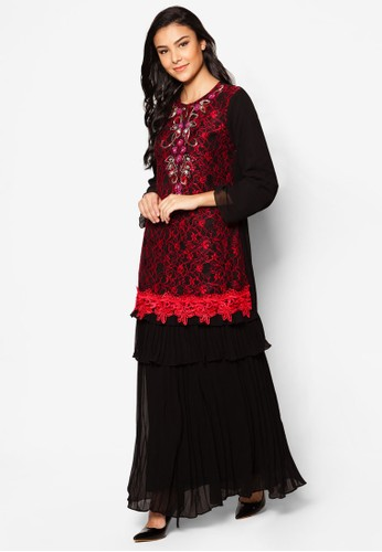 Chiffon With Lace Kurung Moden from Jasmina Collection in Red