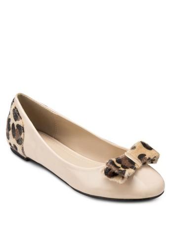 Lourdzalora 男鞋 評價es 豹紋蝴蝶結平底鞋, 女鞋, 芭蕾平底鞋