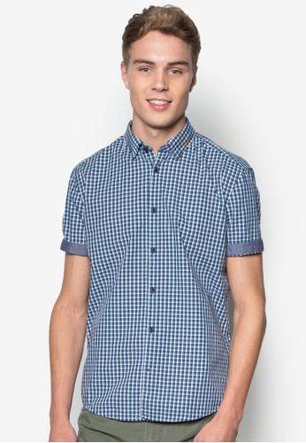 格紋短袖襯衫,esprit手臂包 服飾, 短袖襯衫
