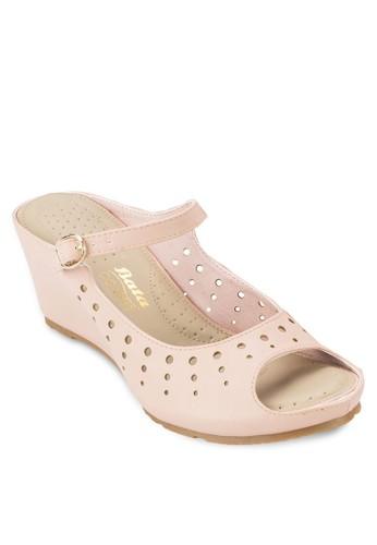 CACA 魚口露趾楔型涼鞋, 女鞋zalora鞋子評價, 鞋