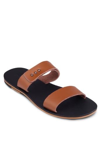 鉚zalora 心得釘雙寬帶平底涼鞋, 鞋, 拖鞋