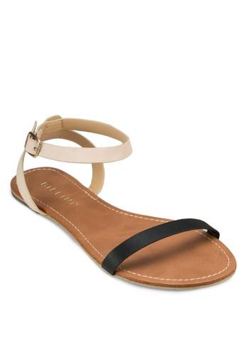 Hanson 雙色繞踝帶平底涼鞋, 女鞋,zalora鞋子評價 涼鞋