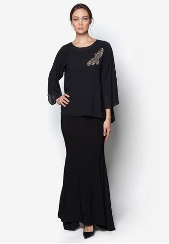Mix Midi Kurung Kedah from Zuco Fashion in Black