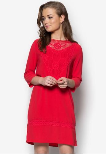 刺繡拼接七分袖連身zalora鞋裙, 服飾, 派對洋裝