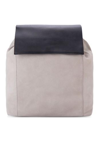 翻蓋拼接小巧麂皮後背包,zalora退貨 包, 飾品配件
