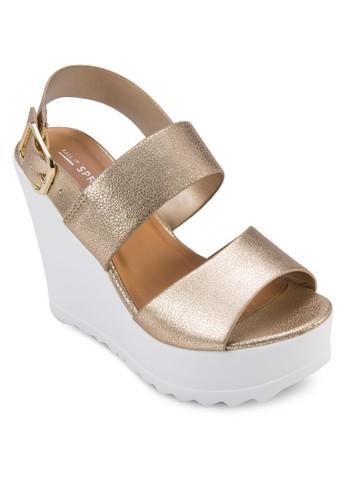 Vaywiezalora退貨l 亮面寬帶楔形涼鞋, 女鞋, 鞋