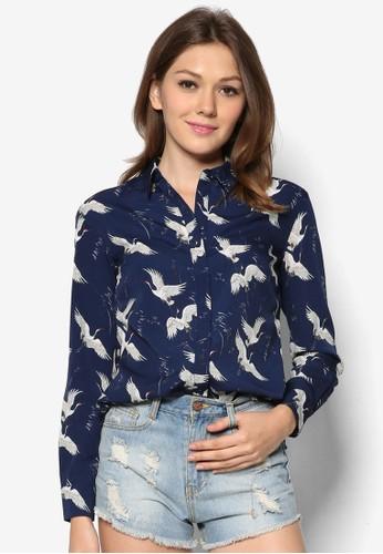 小鳥印花長袖襯衫,zalora 評價 服飾, 上衣