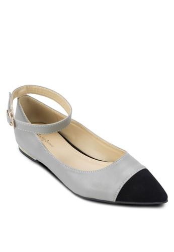 拼色繞踝金飾低跟鞋, 女鞋, zalora 心得芭蕾平底鞋