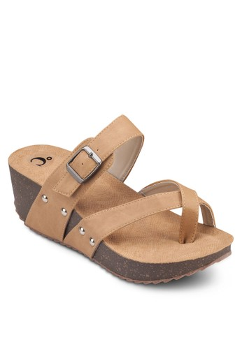 交叉帶厚底涼鞋zalora是哪裡的牌子, 女鞋, 楔形涼鞋