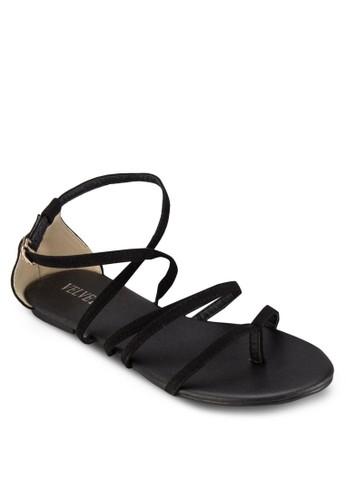 zalora 鞋評價Kim 拇指套交叉帶平底涼鞋, 女鞋, 涼鞋
