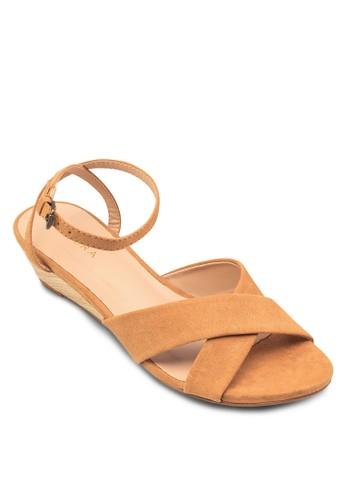zalora 台灣交叉帶楔形低跟涼鞋, 女鞋, 楔形鞋