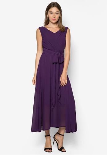褶飾繫帶長洋裝,zalora鞋子評價 服飾, 長洋裝