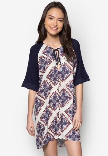 印花繫帶寬鬆連身裙, 服飾zalora鞋子評價, 夏日洋裝