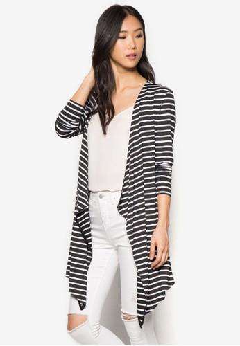 不對稱下擺條紋外套, zalora 包包 ptt服飾, 服飾