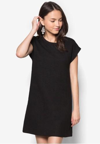 短袖暗紋直筒連身裙, 服飾zalora 順豐, 正式洋裝