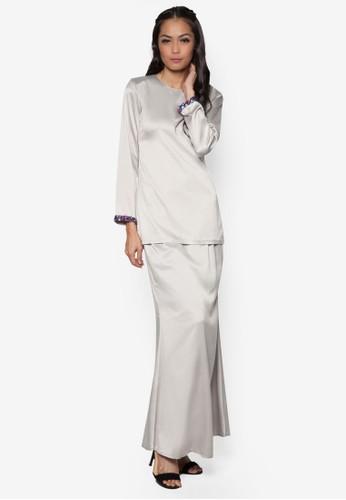 Aqaleya Kurung Moden from Aqaleya Atelier in Grey