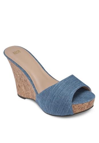 丹寧魚口楔形涼zalora 鞋評價鞋, 女鞋, 魚口楔形鞋