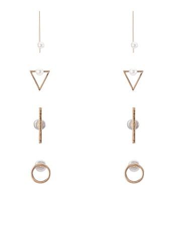 四入幾何造型耳環, 飾品配件, 飾mango服飾官網品配件
