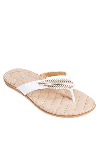 葉子裝飾夾腳涼鞋,zalora時尚購物網評價 女鞋, 高跟