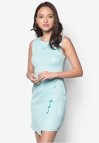 zalora taiwan 時尚購物網鞋子Diane 裹式扇貝無袖洋裝, 服飾, 服飾
