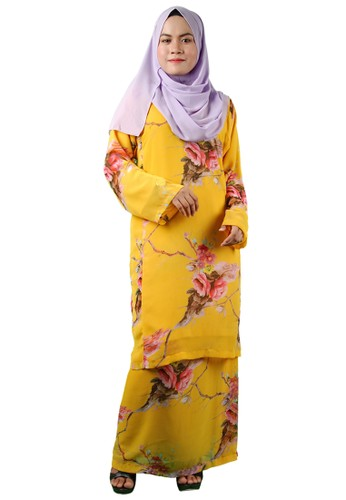 Baju Kurung Pesak from Delimamoda in Orange and Yellow and Gold
