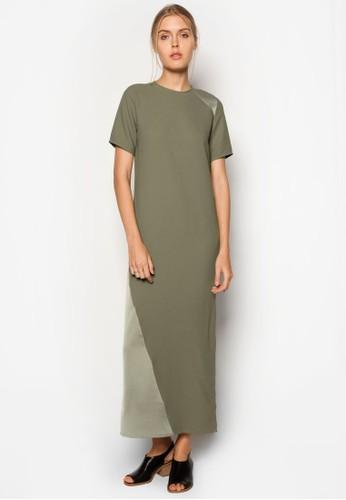 拼接長版連身裙, 服飾, zalora 鞋評價洋裝