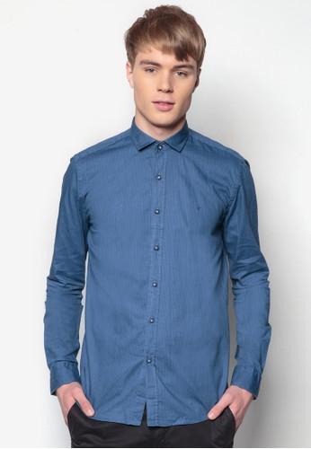 條紋合身長袖襯衫, 服飾, zalora開箱印花襯衫