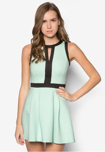 撞色滾邊連身裙, 服飾, 短洋zalora 順豐裝