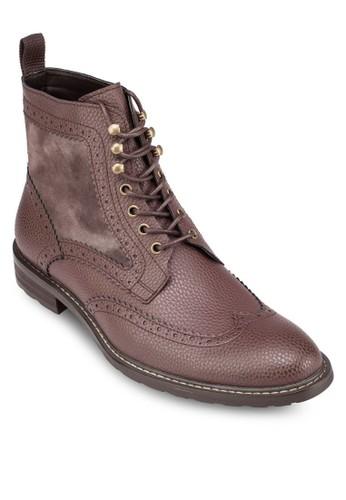 雕花繫帶中筒靴,zalora 順豐 鞋, 靴子