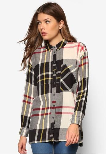 寬版格zalora 鞋評價紋長袖襯衫, 服飾, 襯衫