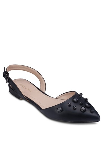 鉚zalora鞋子評價釘踝帶尖頭平底鞋, 女鞋, 芭蕾平底鞋