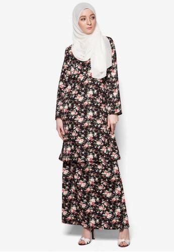 Baju Kurung English Cotton from Azka Collection in Black