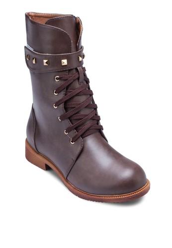 Joy 鉚釘魔術貼繫帶中筒靴, 女鞋zalora 手錶 評價, 鞋