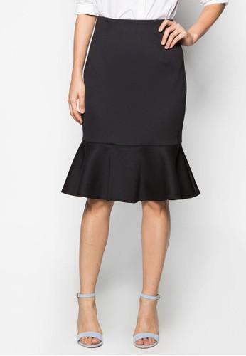 zalora 鞋評價簡約荷葉邊鉛筆短裙, 服飾, 及膝裙