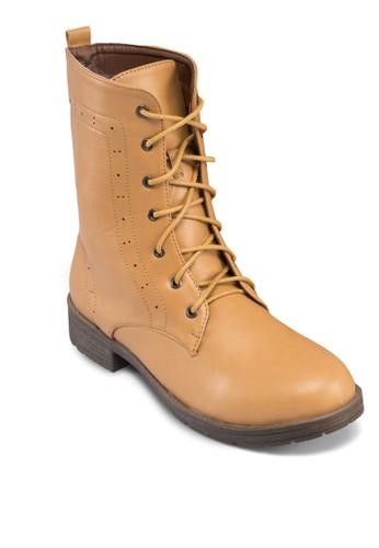 Bezalora退貨lle 沖孔繫帶中筒靴, 女鞋, 鞋