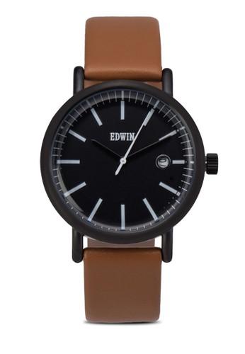 EPIC 三指針真皮圓框裱, 錶類, 皮革錶zalora鞋帶