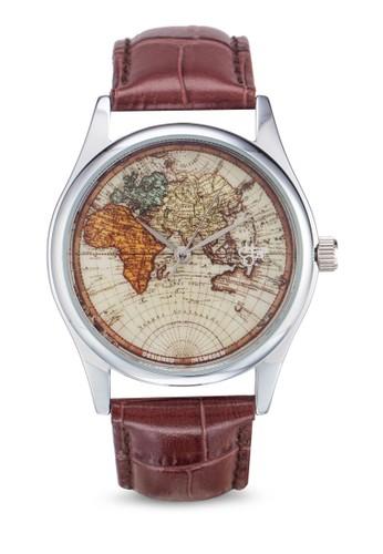zalora退貨世界地圖界面皮革錶, 錶類, 休閒型
