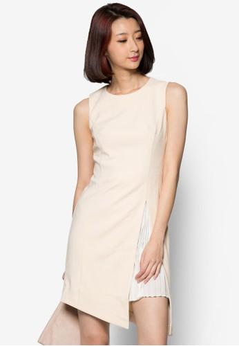 側開叉褶飾層次zalora 男鞋 評價連身裙, 服飾, 洋裝