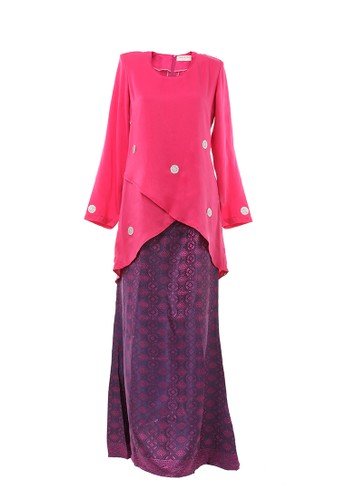 Women's Kurung Moden Dokoh Patch Dark Pink from MOTHER & CHILD in Pink