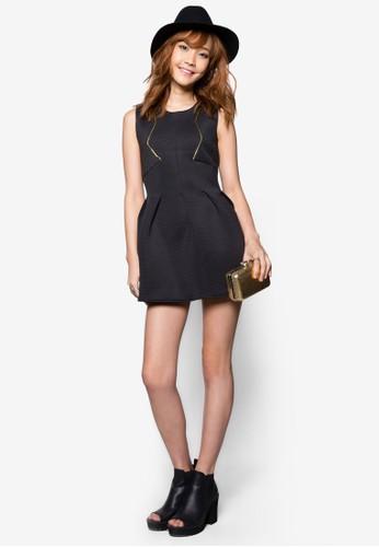 金色滾zalora taiwan 時尚購物網鞋子邊傘擺洋裝, 服飾, 洋裝