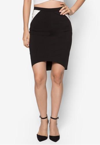 不對稱下zalora 男鞋 評價擺鉛筆裙, 服飾, 裙子