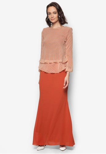 Mini Kurung 2 Layers from Zuco Fashion in Orange and Brown
