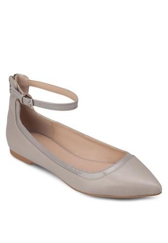 尖zalora 鞋評價頭繞踝帶平底鞋, 女鞋, 芭蕾平底鞋