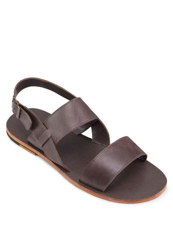 雙寬帶皮革涼鞋,zalora是哪裡的牌子 鞋, 拖鞋