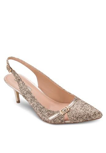 格紋尖頭踝帶zalora 心得高跟鞋, 女鞋, 鞋