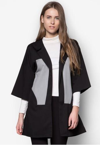 色塊拼接長版開襟外套, 服zalora退貨飾, 西裝外套