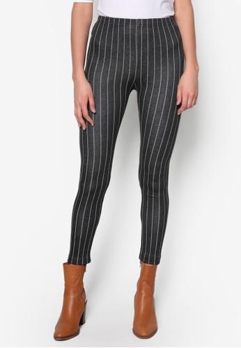 直zalora 包包評價條紋彈性褲襪, 服飾, 內搭褲