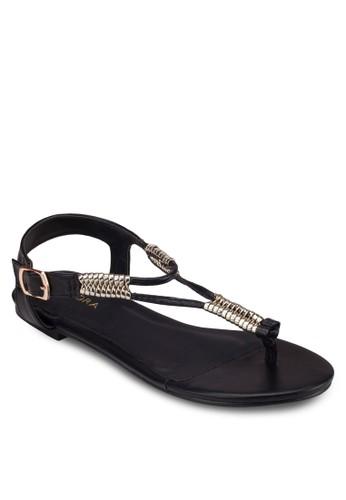 金飾夾腳繞踝涼鞋, 女zalora 台灣鞋, 涼鞋