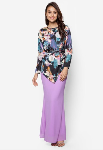 Sweet Romance Baju Kurung Moden from Zolace in Black and Purple
