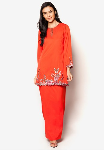 EmbroideRed Kurung Moden from Jasmina Collection in Red